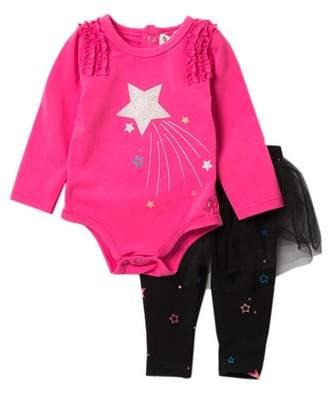 Beetle & Thread Shooting Star Bodysuit & Tutu Leggings Set (Baby Girls)