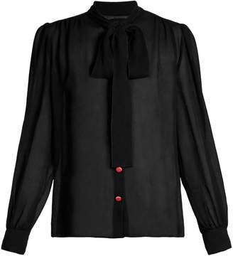 Dolce & Gabbana Tie-neck long sleeve blouse