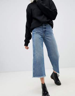 Weekday Crop Wide Leg Jeans With Raw Hem