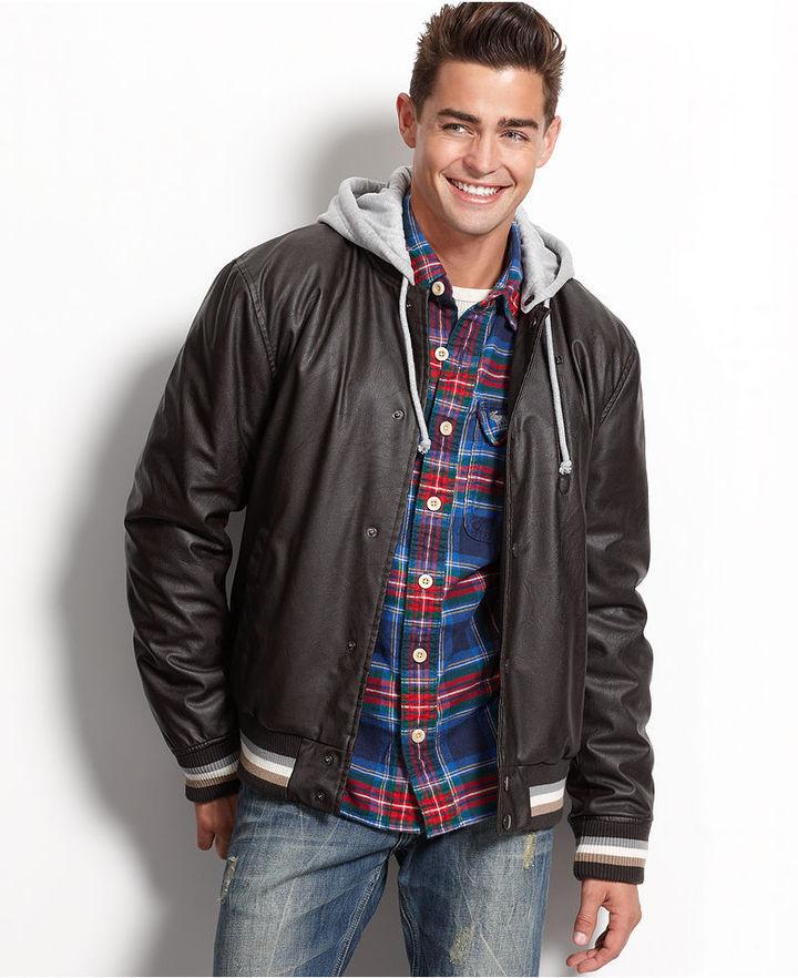 American Rag Jacket, Hooded Faux Leather Varsity Jacket