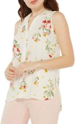 Dorothy Perkins Collared Sleeveless Floral Blouse