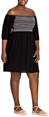 City Chic Plus Makana Smocked Off-the-Shoulder Dress