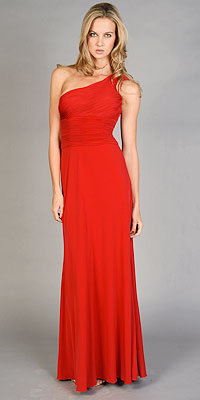Red One Shoulder Gowns by JS Boutique