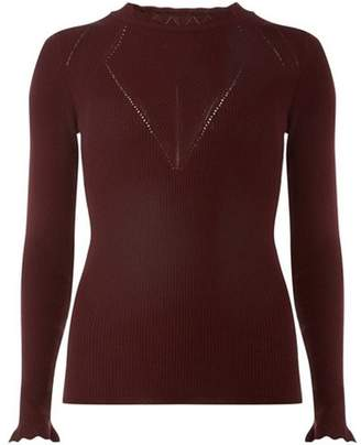 Dorothy Perkins Womens **Tall Burgundy Rib Lettuce Jumper