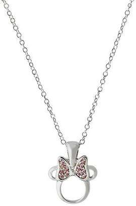 Disney Sterling Silver Minnie Mouse Pink Crystal Pendant