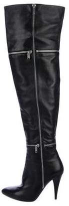 Saint Laurent Leather Over-The-Knee Boots