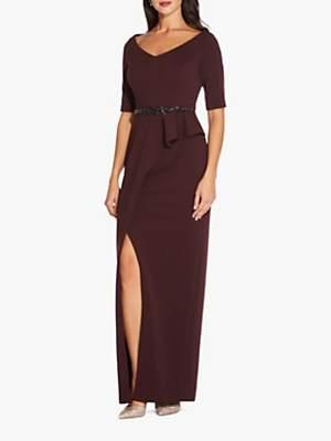 Long Knit Embellished Waist Dress, Blackberry Wine