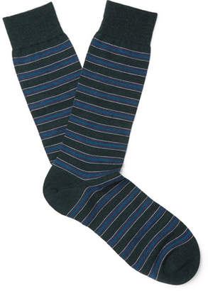 Pantherella Stanway Striped Merino Wool-Blend Socks - Men - Dark green