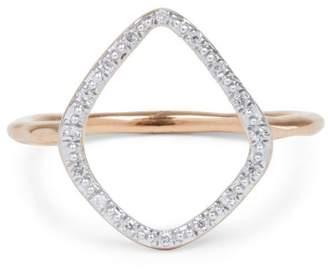 Monica Vinader Rose Gold Vermeil Diamond Riva Hoop Ring