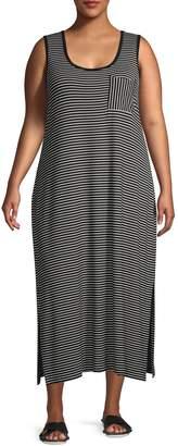 Calvin Klein Plus Striped Scoopneck Maxi Dress