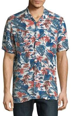 Black & Brown Black Brown Tropical-Print Short-Sleeve Shirt