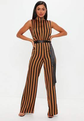 Missguided Brown Stripe High Neck Belted Sleeveless Jumpsuit, Brown