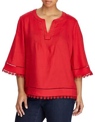 Lauren Ralph Lauren Plus Bell-Sleeve Linen Top