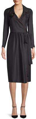 Burberry Long-Sleeve Silk Wrap Dress