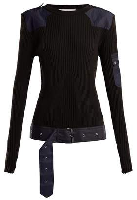 Marques'almeida - Belted Ribbed Knit Wool Top - Womens - Black