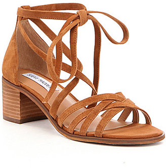 Steve Madden Revere Suede Lace Up Ankle Tie Block Heel Sandals $79.99 thestylecure.com