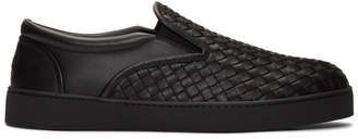 Bottega Veneta Black Intrecciato Dodger Slip-On Sneakers