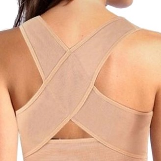 ±0 0 Women\'s Adjustable Posture Corrector X Strap Humpback Vest Back Support Bra - Tan (Medium)