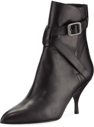 Bottega Veneta Smooth Leather Booties with Buckle Strap
