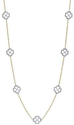 "G-Shock Gumuchian 18K White Gold & 18K Yellow Gold G Boutique Pavé Diamond Kelly Motif Station Necklace, 34"""