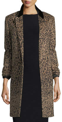 Saint Laurent Leopard-Print One-Button Coat