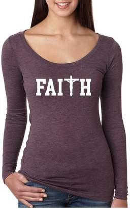 Allntrends Women's Shirt Faith Print Cross Love Christian Shirt (2XL, )