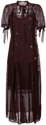 Coach star embroidered mesh overlay dress