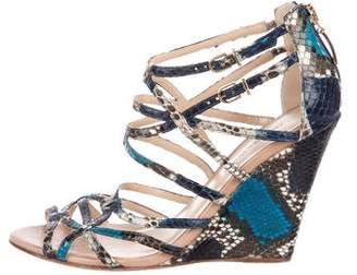 Alexandre Birman Snakeskin Sandal Wedges