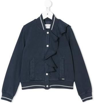 John Galliano ruffle detail bomber jacket
