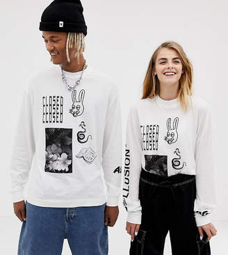 Collusion COLLUSION Unisex long sleeve graphic t-shirt