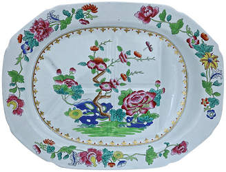 One Kings Lane Vintage Spode Indian Tree Meat Draining Platter - Rose Victoria