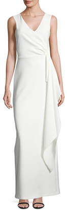 Parker Sleeveless Crepe Column Gown, Ivory $398 thestylecure.com