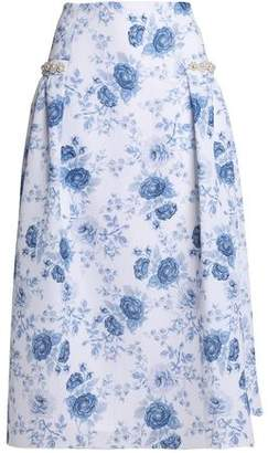 Mother of Pearl Faux Pearl-Embellished Printed Mesh Midi Skirt