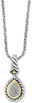 """Effy Balissima by Diamond Two-Tone 18"""" Pendant Necklace (1/10 ct. t.w.) in Sterling Silver & 18k Gold"""