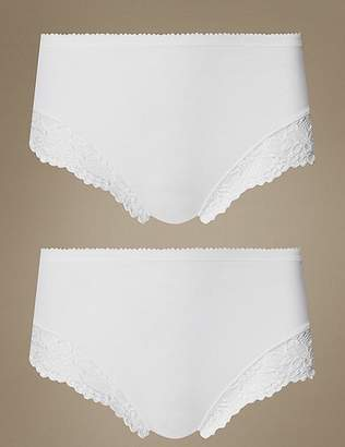 Marks and Spencer 2 Pack Light Control Cotton Rich High Leg Knickers