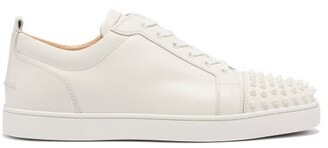Christian Louboutin Louis Junior Spike Embellished Leather Trainers - Mens - White