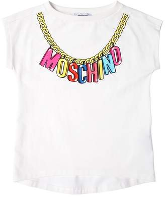Moschino Logo Chain Print Cotton Jersey T-Shirt