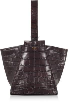 Max Mara Anita Extra-small Croco Embossed Leather Satchel Bag