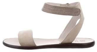 Brunello Cucinelli Monili Suede Sandals