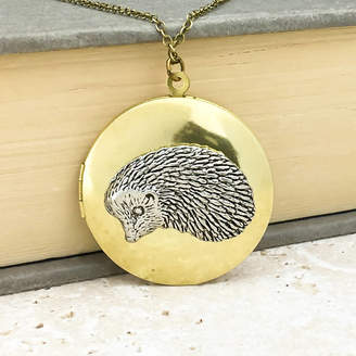 Wild Life Designs Hedgehog Locket Necklace Pewter Brass Pendant