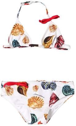 Dolce & Gabbana Seashells Print Lycra Triangle Bikini