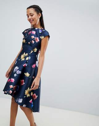 Chi Chi London floral printed skater dress with cap sleeve
