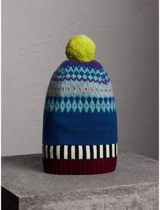 Burberry Fair Isle Cashmere Wool Pom-pom Beanie