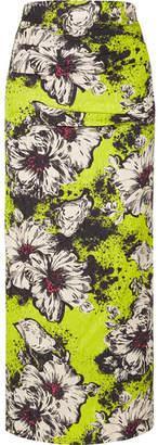 Miu Miu Ruched Floral-print Silk-blend Cloqué Midi Skirt