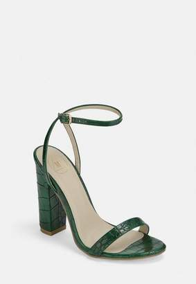 Missguided Green Croc Print Block Heeled Sandals