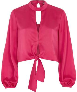 River Island Womens Bright Pink satin choker long sleeve crop top