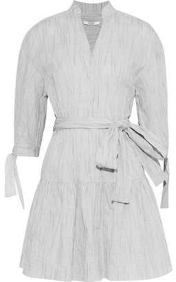 Derek Lam 10 Crosby Striped Textured Cotton-Blend Poplin Mini Dress
