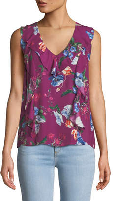 Parker Roxy Floral-Print Sleeveless Ruffle Top