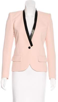 Barbara Bui Leather Trimmed Collarless Blazer