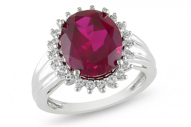 Ice 7 7/8 CT Created Ruby and White Topaz Sterling Silver Ring